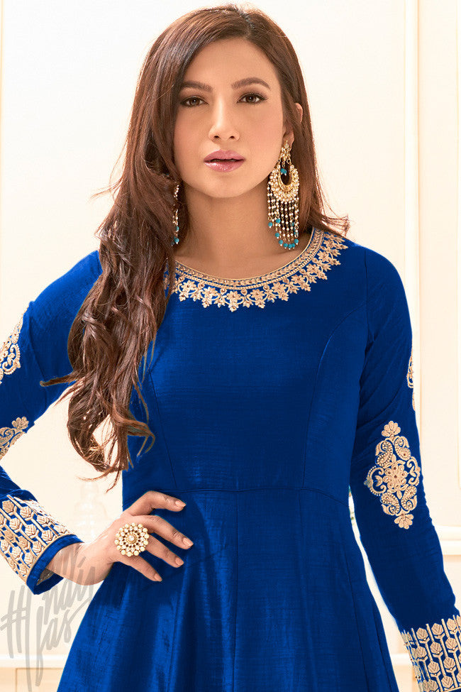 Indi Fashion Royal Blue Banarasi Silk Party Wear Jacket Style Suit