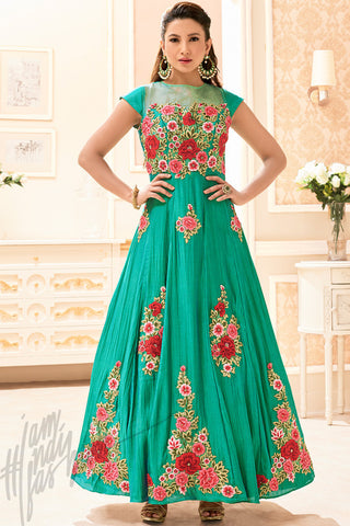Buy Green Silk Party Wear Floor Length Suit Online at indi.fashion