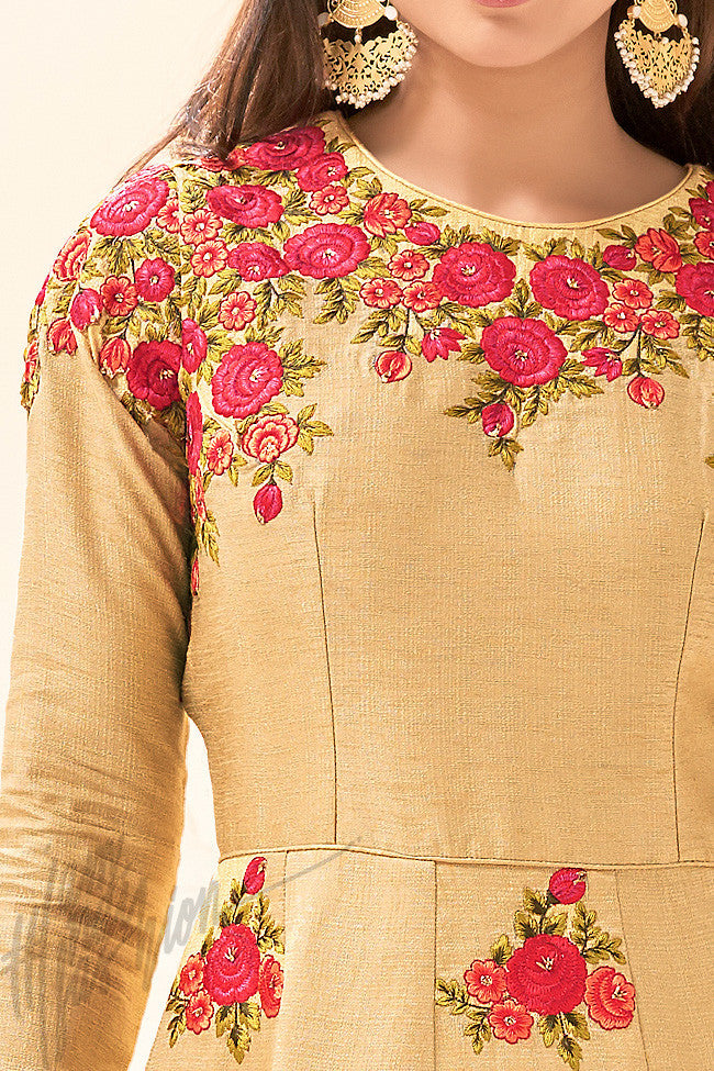 Indi Fashion Beige and Red Pure Khadi Silk Party Wear Floor Length Suit