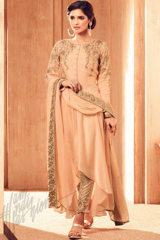 Indi Fashion Light Peach and Gold Satin Georgette party Wear Suit