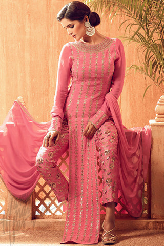 Buy Pink and Gold Satin Georgette Party Wear Suit Online at indi.fashion