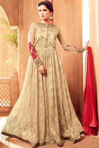 Indi Fashion Beige and Red Viscose Jacquard Party Wear Suit