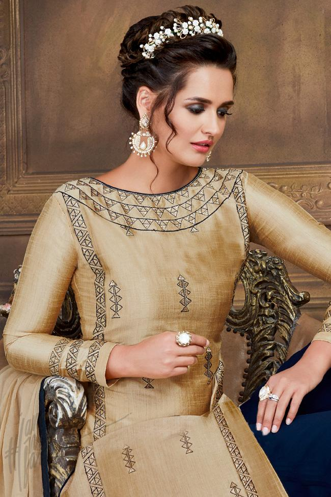 Indi Fashion Beige and Blue Silk Party Wear Palazzo Suit