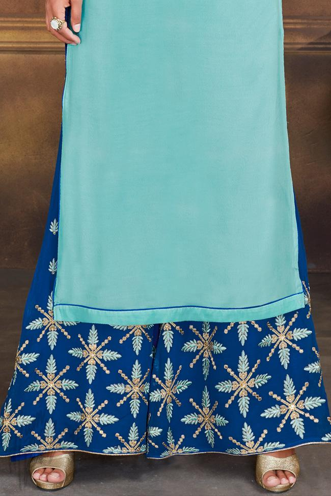 Indi Fashion Sky Blue and Royal Blue Georgette Party Wear Palazzo Suit