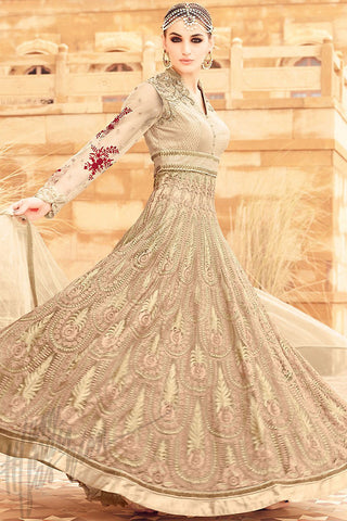 Buy Cream Net Party Wear Floor Length Suit Online at indi.fashion