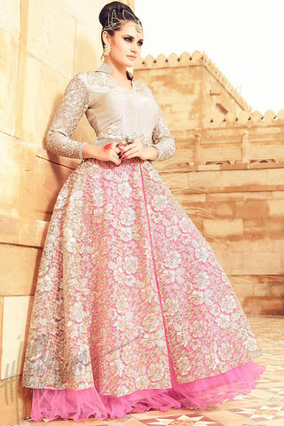 Buy Cream and Soft Pink Net Lehenga Style Party Wear Suit Online at indi.fashion