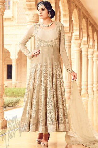 Buy Cream Net Party Wear Anarkali Suit Online at indi.fashion