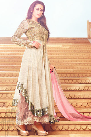 Buy Cream Beige and Pink Asymmetrical Party Wear Suit Online at indi.fashion