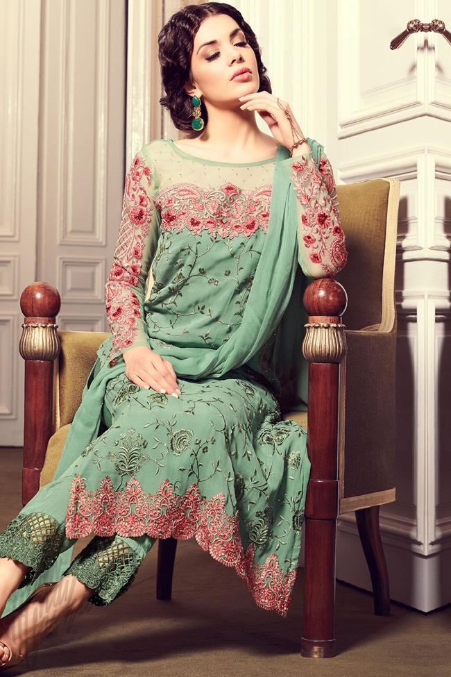 Indi Fashion Green Georgette Straight Party Wear Suit