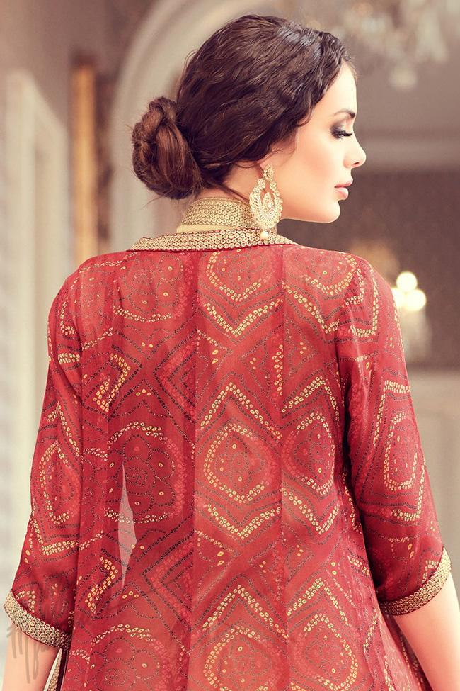 Indi Fashion Beige and Red Taffeta Silk Jacket Style Suit