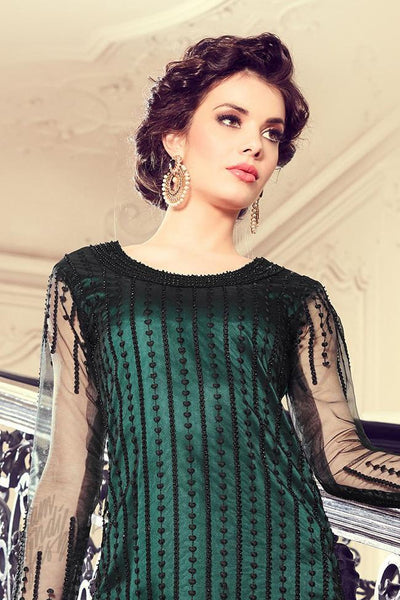 Buy Dark Green Net Straight Party Wear Suit Online at indi.fashion