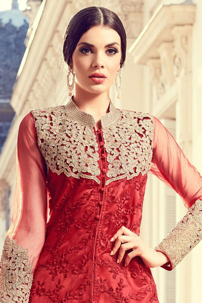 Indi Fashion Red Net Straight Party Wear Suit