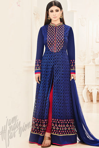 Indi Fashion Royal Blue and Red Net Party Wear Floor Length Suit