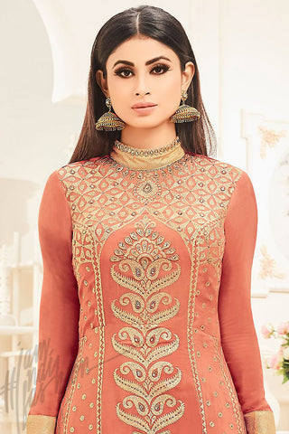 Indi Fashion Peach and Beige Faux Georgette Party Wear Floor Length Suit