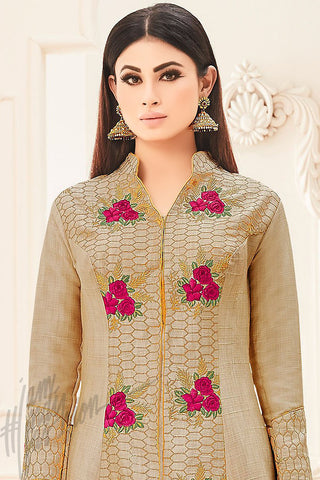 Indi Fashion Beige and Magenta Bangalori Silk Long Jacket Style Party Wear Lehenga Set