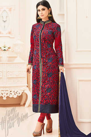 Indi Fashion Red and Blue Silk Party Wear Suit