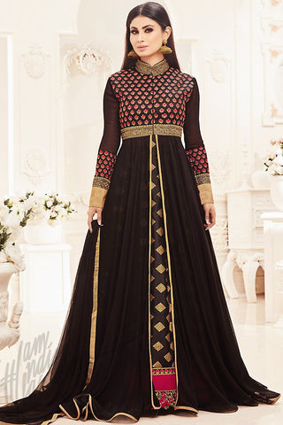 Indi Fashion Black Beige and Magenta Faux Georgette Party Wear Floor Length Suit