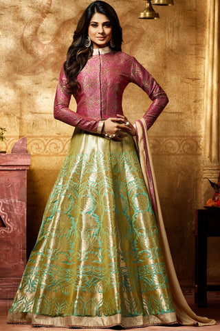 Buy Green and Maroon Banarasi Silk Jacket Style Floor Length Suit Online at indi.fashion