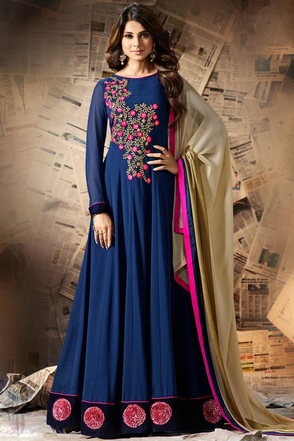 Indi Fashion Blue and Beige Georgette Party Wear Floor Length Suit