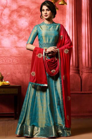 Buy Bottle Green and Red Banarasi Silk Floor Length Suit Online at indi.fashion