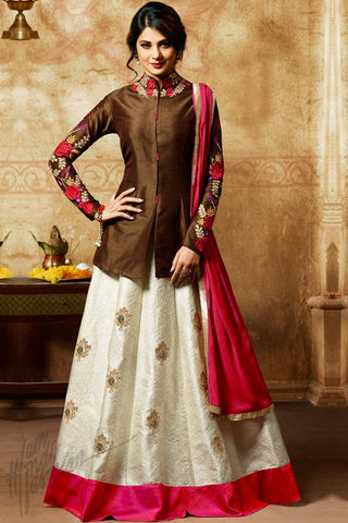 Indi Fashion Brown and Off White Jacket Style Suit with Skirt