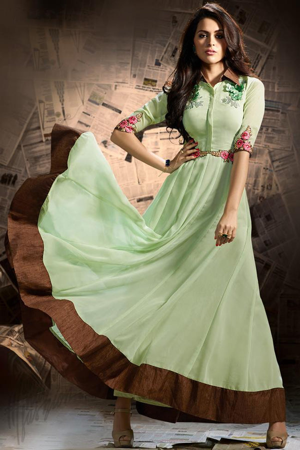 Indi Fashion Pastel Green and Brown Georgette Party Wear Floor Length Suit
