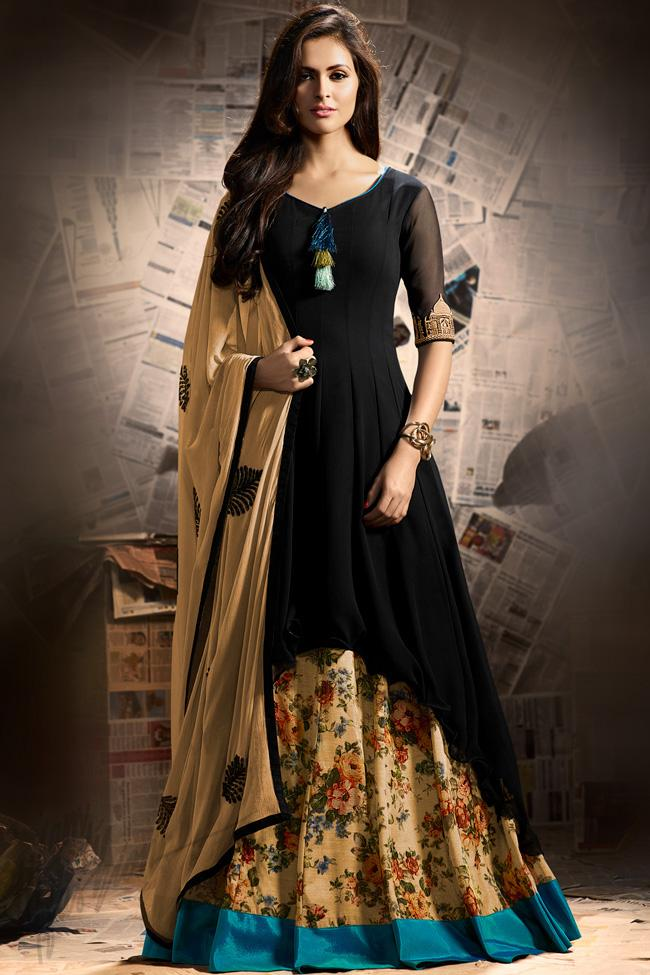 Indi Fashion Black and Beige Georgette Party Wear Asymmetrical Suit