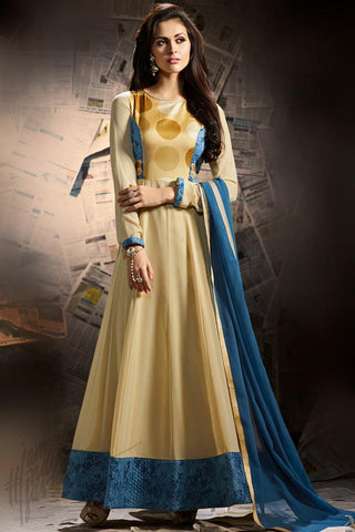 Buy Cream and Blue Georgette Party Wear Ankle Length Suit Online at indi.fashion