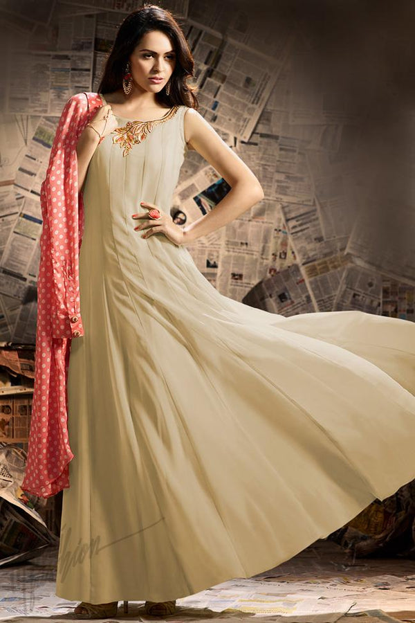 Indi Fashion Soft Peach and Beige Georgette Party Wear Jacket Style Suit