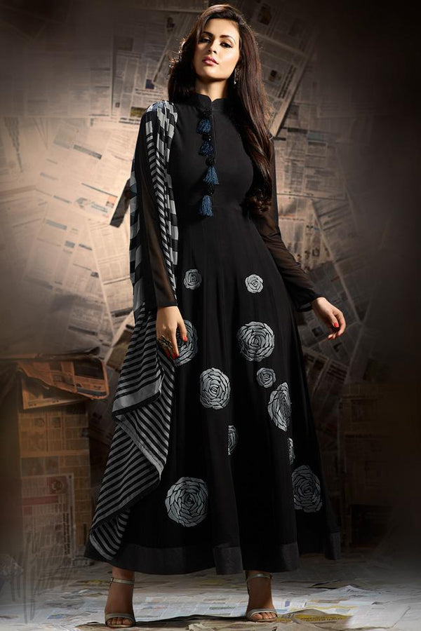 Indi Fashion Black and Gray Georgette Party Wear Ankle Length Suit