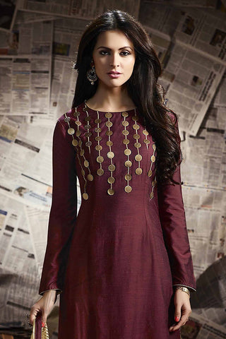 Indi Fashion Maroon and Beige Cotton Satin Palazzo Suit