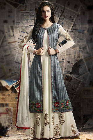 Indi Fashion Gray and Off White Banarasi Silk Suit