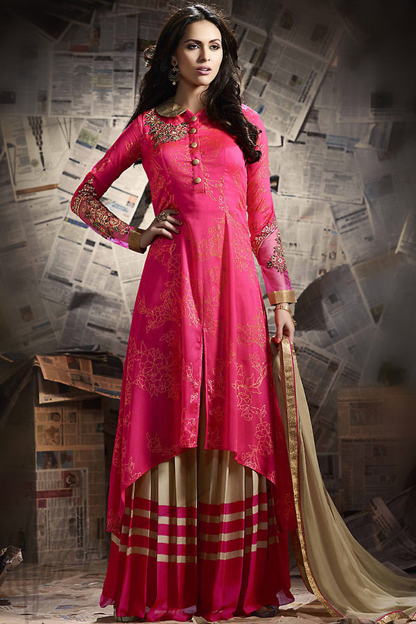 Indi Fashion Pink and Beige Silk Palazzo Suit