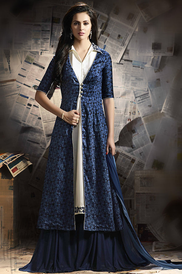 Indi Fashion Navy Blue and Off White Cotton Satin Palazzo Suit
