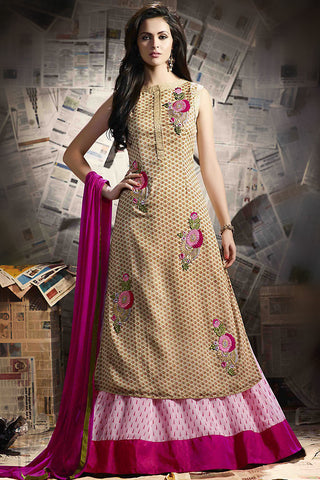 Indi Fashion Beige and Baby Pink Georgette Suit with Skirt