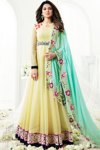 Indi Fashion Lemon Yellow Georgette Floor Length Party Wear Suit