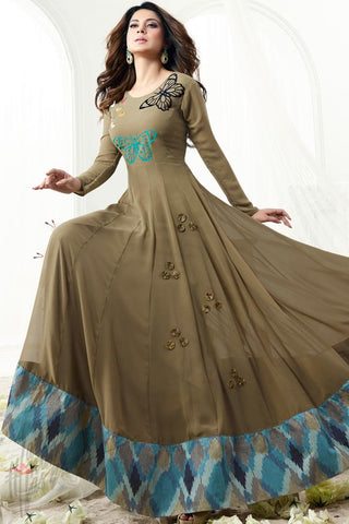 Indi Fashion Heena Green Georgette Floor Length Party Wear Suit