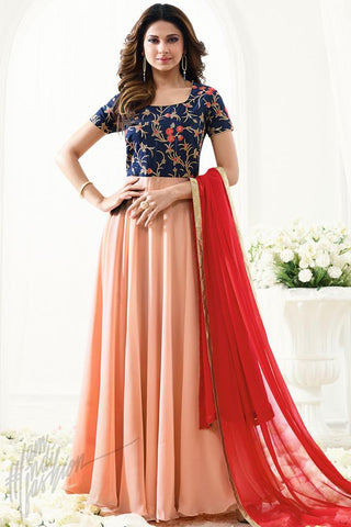 Indi Fashion Midnight Blue and Peach Georgette Floor Length Party Wear Suit