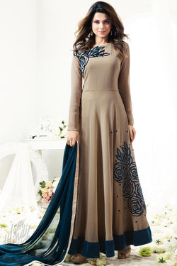 Indi Fashion Coffee Brown Georgette Floor Length Party Wear Suit