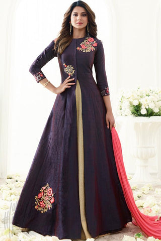 Indi Fashion Purple Banarasi Silk Floor Length Party Wear Suit