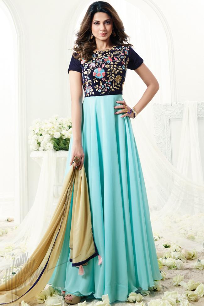 Indi Fashion Midnight Blue and Sky Blue Georgette Floor Length Party Wear Suit