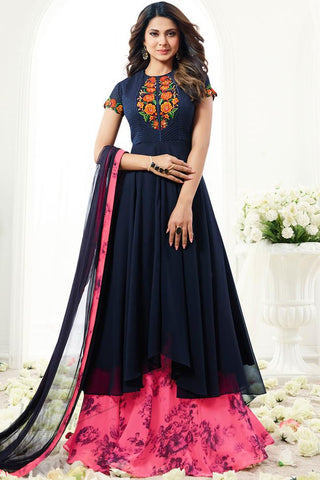 Indi Fashion Navy Blue and Magenta Georgette Floor Length Party Wear Suit