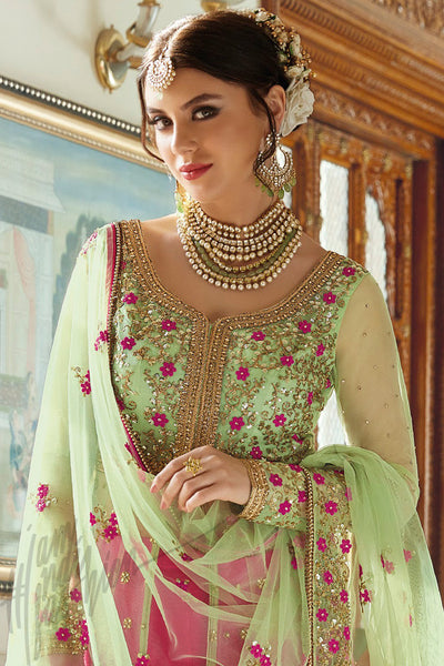 Buy Green and Rani Pink Net and Bhagalpuri Silk Lehenga Style Suit Online at indi.fashion