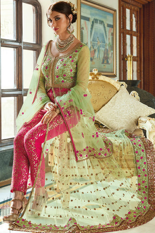 Buy Green and Rani Pink Net and Bhagalpuri Silk Party Wear Suit Online at indi.fashion