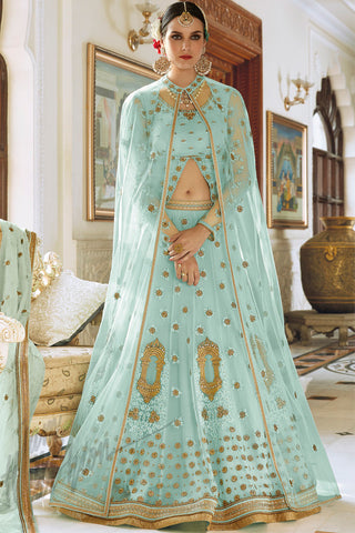 Indi Fashion Blue and Gold Net Party Wear Lehenga Style Suit