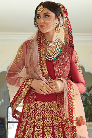 Indi Fashion Maroon and Gold Net and Silk Jacket Style Lehenga