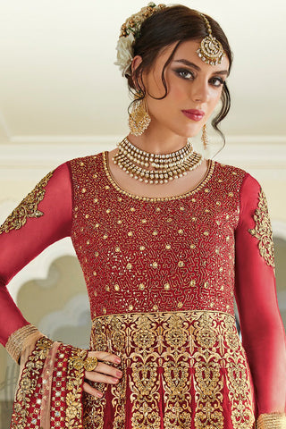 Indi Fashion Maroon and Gold Net and Silk Party Wear Anarkali Suit
