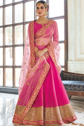 Indi Fashion Rani Pink and Gold Silk Lehenga Set