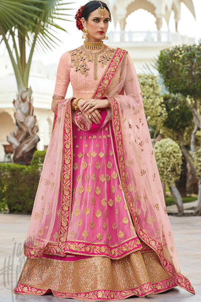 Buy Rani Pink and Peach Silk Lehenga Style Suit Online at indi.fashion