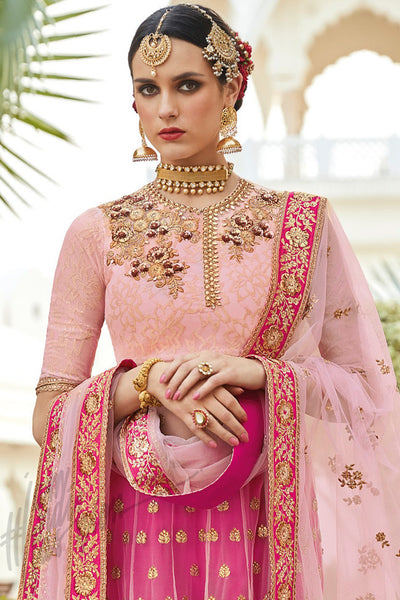 Buy Rani Pink and Peach Silk Party Wear Anarkali Suit Online at indi.fashion